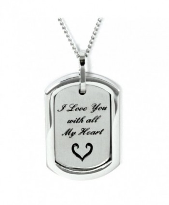 I Love You With All My Heart Pendant Necklace - Stainless Steel Necklace - Love Jewelry Commitment Gifts - CK11554J5OZ
