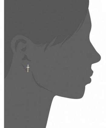 Fossil Cross Stud Earrings Gold