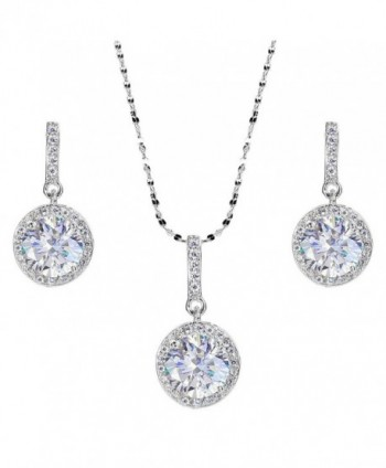EVER FAITH 925 Sterling Silver CZ Gorgeous Round Cut Wedding Pendant Necklace Earrings Set - A-Clear - CP1200EU2XH