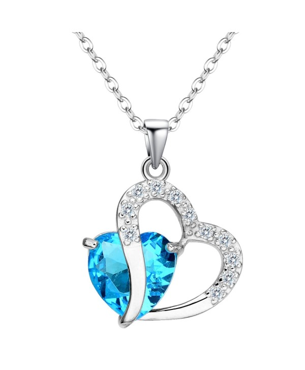 EleQueen 925 Sterling Silver Full Cubic Zirconia A Heart Full of Eternal Love Pendant Necklace - Aquamarine Color - CW12E90H3QH