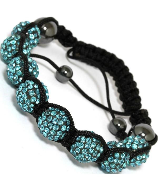 AnsonsImages Shamballa Inspired Bracelet Rhinestone Disco Beads Turquoise Adjustable - CF1847IC6RD