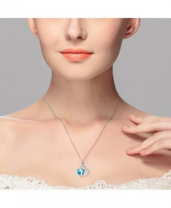 EleQueen Sterling Zirconia Necklace Aquamarine in Women's Pendants