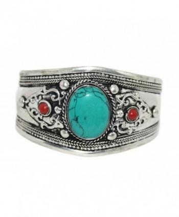 Boho Bracelet Coral Turquoise Bracelet Nepal Cuff Bracelet Tibetan Bracelet Gypsy Bracelet Tibet Bracelet - CB127S822CR
