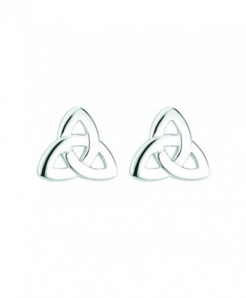 Trinity Knot Earrings Silver Plated Irish Made - CH11OX2GSB3