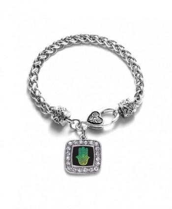 Hamsa Charm Classic Silver Plated Square Crystal Bracelet - CQ11LI43MS1