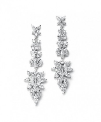 Mariell Luxurious Bridal Statement Earrings with Marquis Cut CZ Clusters - Wedding or Pageant Chandeliers - CH122YONH01
