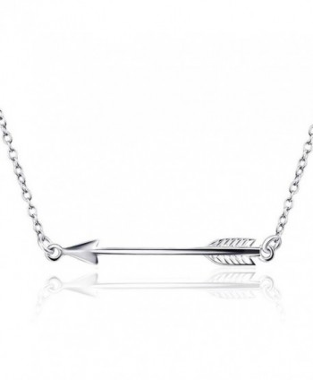 925 Sterling Silver Classic Love Polished Sideways Arrow Horizontal Womens Pendant Necklace - CZ17AAN8C0E