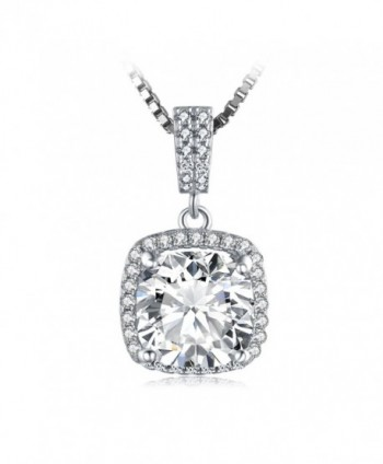 JewelryPalace Cushion 3ct Cubic Zirconia Halo Solitaire 925 Sterling Silver Pendant Necklace 18 Inches - CI12EJ9FFD1