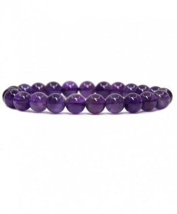 Natural Amethyst Gemstone Stretch Bracelet - A Grade Dark Amethyst - CH17YLSHZI7
