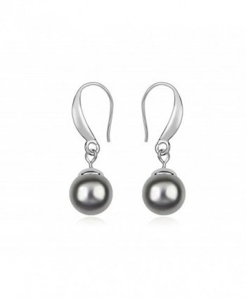 ufengke Fashion Single Austrian Pearl Drop Earrings White Gold Plated Women Girls Gift - Dark Gray - CT11VRKNKRT