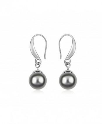 ufengke Fashion Single Austrian Pearl Drop Earrings White Gold Plated Women Girls Gift - Dark Gray - CT11VRKNKRT