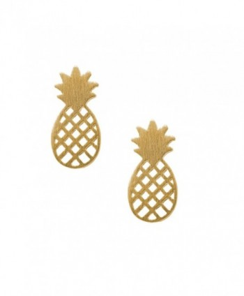Spinningdaisy Handcrafted Brushed Metal Cute Pineapple Stud Earrings - C911XPZTYDN