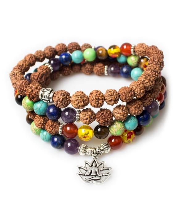 Christmas Buddhist Rudraksha Buddha Gemstone Bracelet - Rudraksha-Buddha-Lotus - CU187MXUYCK