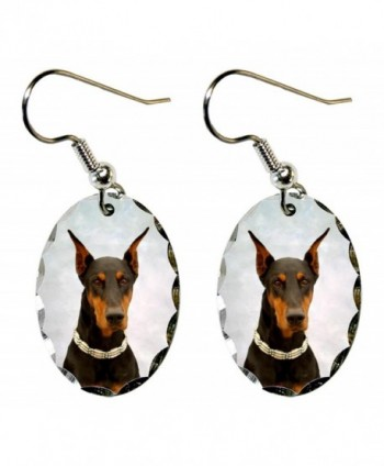 Canine Designs Doberman Pinscher Scalloped Edge Oval Earrings - C5117521KLB