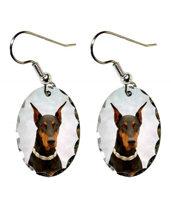 Canine Designs Doberman Pinscher Scalloped Edge Oval Earrings - C5117521KLB