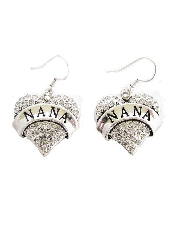 Nana Heart Clear Crystals Silver French Hook Earrings Jewelry - CH11FH179SP