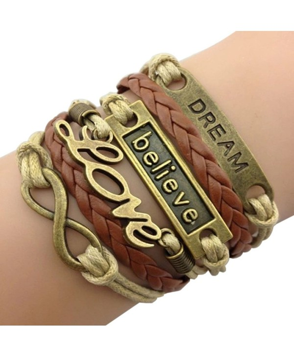 Time Pawnshop Handmade Bronze Dream Believe Love Braided Multilayer Adjustable Leather Bracelet - CA12C1G28GB