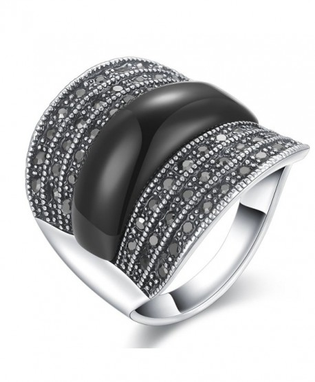 Dnswez 22mm Width Black Marcasite Stones Wide Band Silver Statement Ring for Women Men - CO12LB3II9V