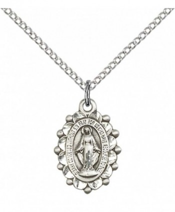 "Sterling Silver Miraculous Pendant with 18"" Stainless Steel Lite Curb Chain. - C312836JBVD"