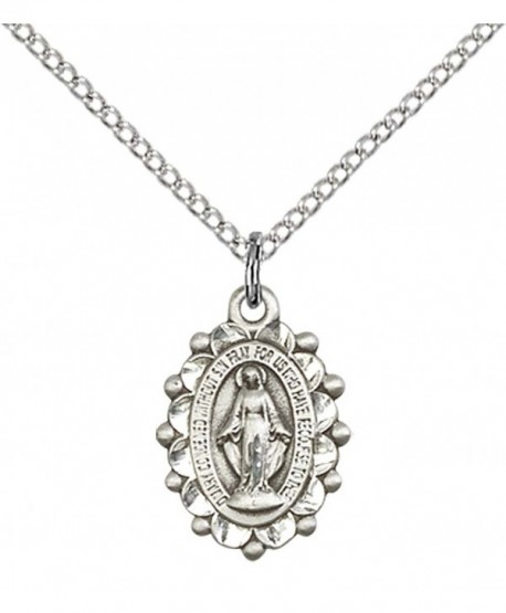"""Sterling Silver Miraculous Pendant with 18"""" Stainless Steel Lite Curb Chain. - C312836JBVD"""