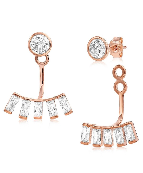 Ear Jacket 2 in 1 Rose 14k Gold Plated-Sterling Silver- CZ AAA Quality Stud and Jacket Earrings Set - CS127KYZP73
