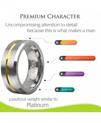 Nuni Jewelry Tungsten Wedding Polished in Women's Wedding & Engagement Rings