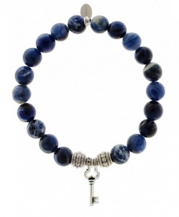 EvaDane Natural Sodalite Gemstone Rope Bead Key Charm Stretch Bracelet - CG18676ZINY