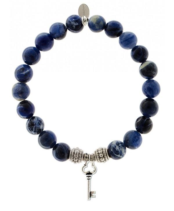 EvaDane Natural Sodalite Gemstone Rope Bead Key Charm Stretch Bracelet - CG18676ZINY