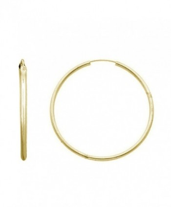 14K Solid Yellow Gold Hoops Endless Hoop Earrings 21mm - CB11FQOB3J9