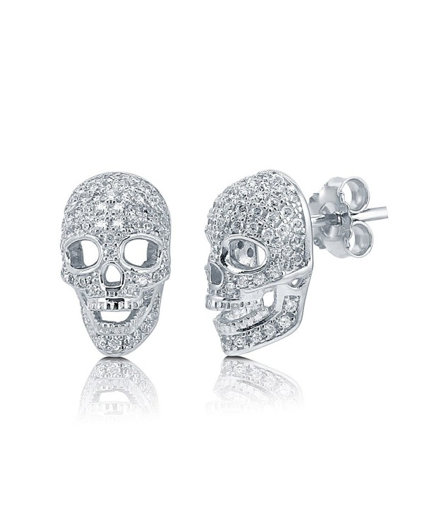 BERRICLE Rhodium Plated Sterling Silver Cubic Zirconia CZ Skull Bones Fashion Stud Earrings - CN119032CQZ