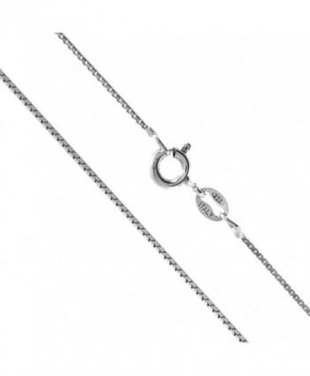 "Sterling Silver 1mm Box Chain Necklace- 14"" - 36"" - CQ11DJY8K9T"
