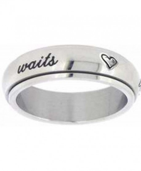 "Solid Rock Jewelry STAINLESS STEEL CURSIVE ""true love waits"" WITH HEARTS SPIN RING STYLE 389 - C611EUW4H7X"