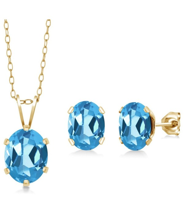 3.10 Ct Oval Swiss Blue Topaz Gold Plated Silver Pendant Earrings Set - CR118SGGNBP