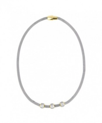 """Stainless Steel Mesh Chain with Pave CZ Charms 17"""" Necklace - Silver Tone - CV12LZFUT0B"""