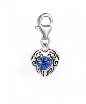 September Birthstone Heart Charm for European Clip on Charm Jewelry w/ Lobster Clasp - CE11EUV5RZZ