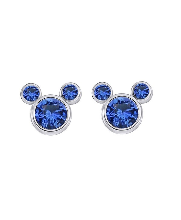 Simulated Blue Sapphire Mickey Mouse Stud Earrings In 14K Gold Over Sterling Silver - CW12O1JGBAA