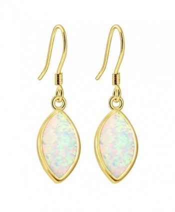 Sinlifu Gemstone Hot Women Australian Opal Silver Marquise Earring Dangle Hook Earrings - Yellow:White Opal - CR120NFHUND