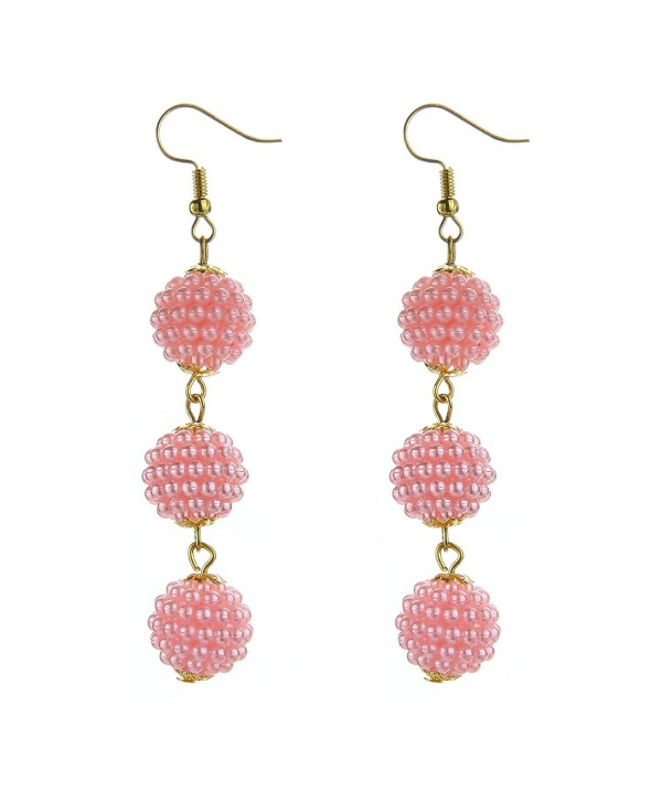 MELUOGE Women's Manual Thread Ball Drop Tassel Thread Ball Dangle Earrings Thread Drop Earrings - Bead( Pink) - CC187CR6L5T