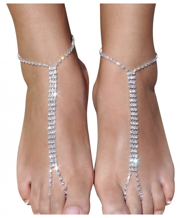 2 Pieces Beach Barefoot Adorn Alloy Golden Rhinestone Foot Anklet Chain - Sliver - C612284FFTD