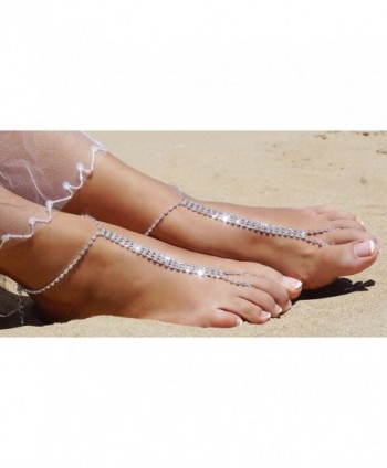 Beach Barefoot Silver Rhinestone Anklet