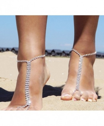 Beach Barefoot Silver Rhinestone Anklet in Women's Anklets