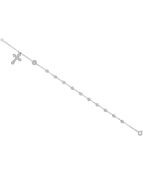 Sterling Silver Rosary Bracelet Diamond Cut Beads Cubic Zirconia Stones- 7 - 8 inch - CT11Q0R3O2P
