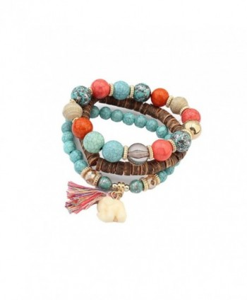 Lureme Bohemian Turquoise Beads 3 Layers with Elephant Charm Tassel Bracelet Set (bl003161) - Blue - CZ184WILKEG