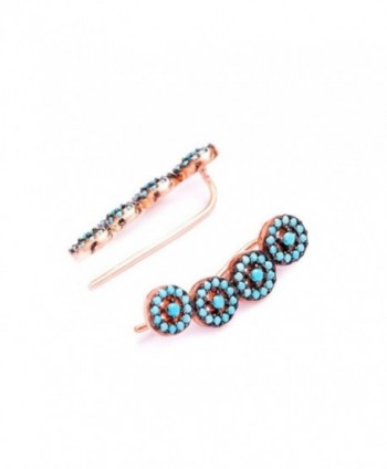 Ear Climber Crawler Cuff Earrings Turquoise Rose Gold Plated - CB184UC3OMU