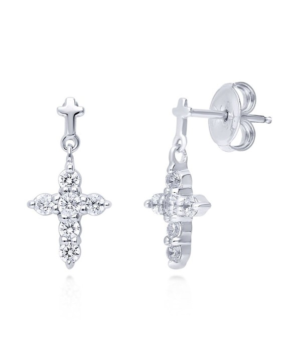 BERRICLE Rhodium Plated Sterling Silver Cubic Zirconia CZ Cross Fashion Dangle Drop Earrings - CU12KUQENF3