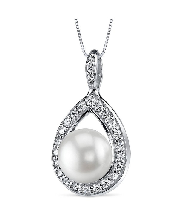Halo Teardrop 10.0mm Freshwater Cultured Pearl Pendant Necklace Sterling Silver - CV11FAWP3DN