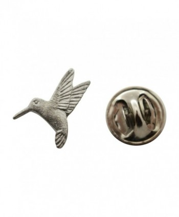 Hummingbird Mini Pin ~ Antiqued Pewter ~ Miniature Lapel Pin ~ Sarah's Treats & Treasures - CN12H6URIQH