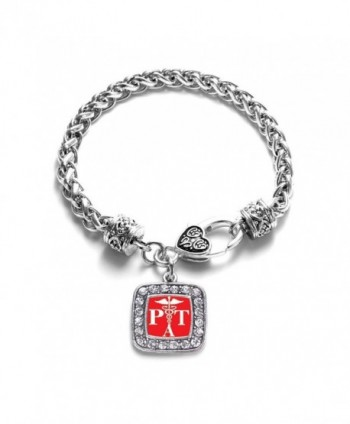Physical Therapist Assistant Classic Silver Plated Square Crystal Charm Bracelet - CW11U7O1FX7