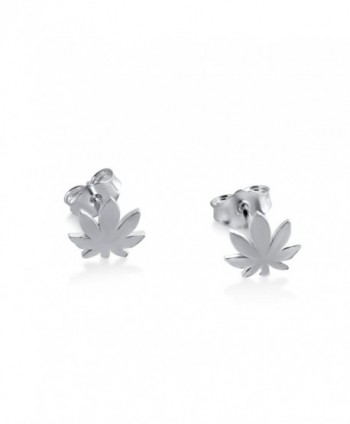 Azaggi Sterling Silver Handcrafted Cannabis Stud Earrings - C312G60IJZH