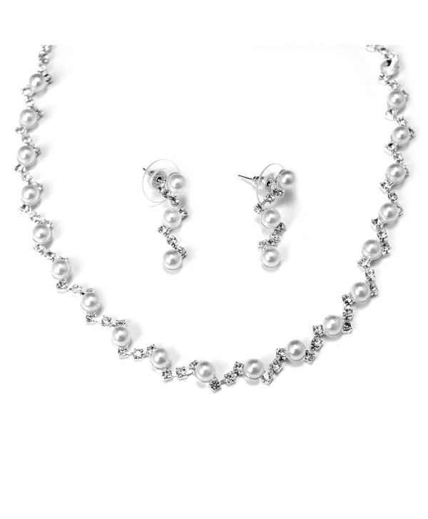 Rhinestone White Zig Zag Design With Mini Pearls Bridal Necklace Earring Set - CO116GDLTUR